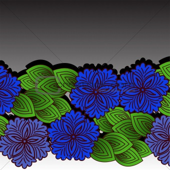 A garland of blue flowers