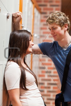 Portrait of a student couple flirting