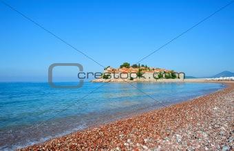 Beach near Sveti Stefan island in Montenegro
