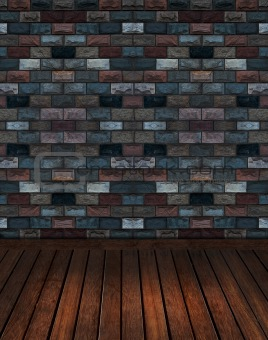 old brick wall with wooden floor