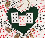 Playing cards  in Heart-shaped