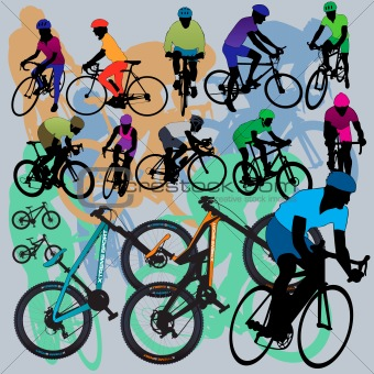 Bikes and cyclists silhouettes set