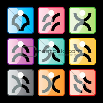 Abstract people icons set