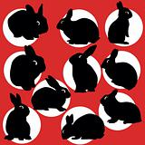 rabbit silhouettes set 03