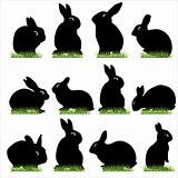 rabbit silhouettes set 02