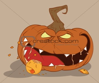 Bloodthirsty pumpkin eating an orange on Halloween