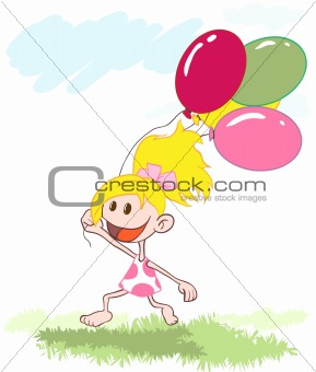 The little girl ran across the field with balloons