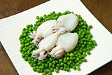fresh cuttlefish with peas