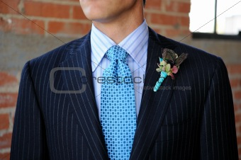 Blue Pinstriped Suit with Tie and Boutonniere