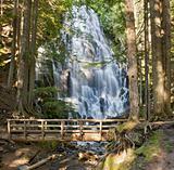 Ramona Falls by the Wooden Bridge in Oregon