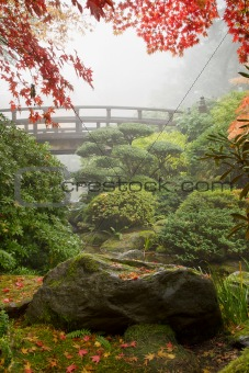 Rock and Bridge at Japanese Garden