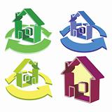 house and cycled arrows icons