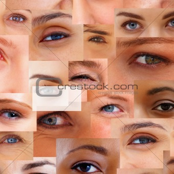 Hyphen sign over a collage of human eyes