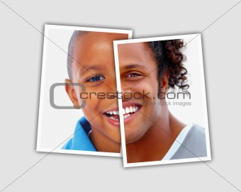 Comparison pictures of child and adult face of african american