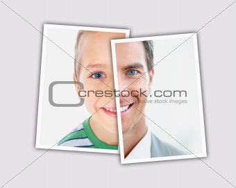 Comparison pictures of child and adult face of caucasian man