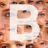 Letter B - Alphabet against collage of human eyes