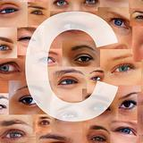 Letter C - Alphabet against collage of human eyes