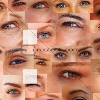 Colon - Punctuation against collage of human eyes
