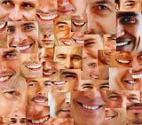 Collection and collage of parts of human smiling face