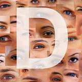 Letter D - Alphabet against collage of human eyes
