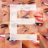 Letter E - Alphabet against collage of human smiles