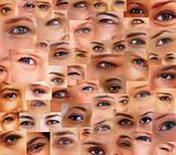 Collection and Collage of different people eyes