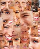 Creative background - Several  happy human faces