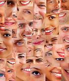 Collage of parts of many human smiling face