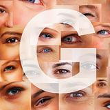 Letter G - Alphabet against collage of human eyes