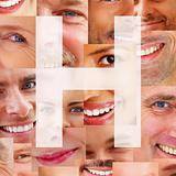 Letter H - Alphabet against collage of human smiles