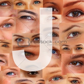 Letter J - Alphabet against collage of human eyes