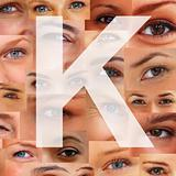 Letter K - Alphabet against collage of human eyes