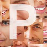 Letter P - Alphabet on collage of human facial parts
