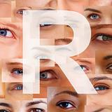 Letter R - Alphabet against collage of human eyes