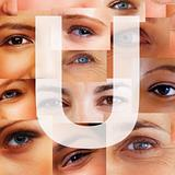 Letter U - Alphabet against collage of human eyes