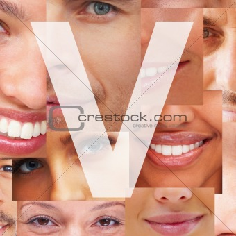 Letter V - Alphabet against collage of human facial parts