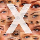 Letter X - Alphabet against collage of human eyes