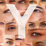 Letter Y - Alphabet against collage of human eyes