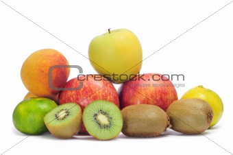 apples, tangerines, peaches and kiwis