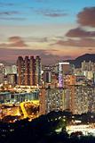 sunset in hongkong downtown