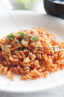 close up shot of tomato pasta