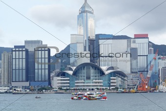 Hong Kong harbour and boat