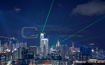 Beautiful laser night show scenery of Hong Kong Victoria Harbor