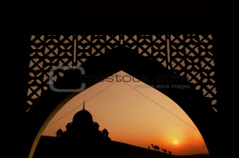 silhouette of arabic architecture