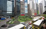 traffic in downtown, hongkong