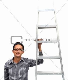 asian man climbing the corporate ladder