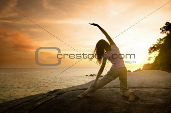 asian girl posing yoga