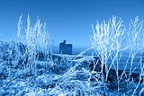 christmas season view of ballybunion castle and beach in blue sn