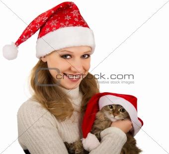 Beautiful mrs. Santa with lovely  kitten