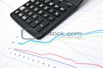 business table with chart and calculator